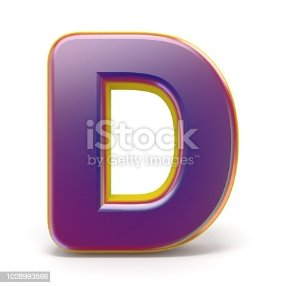 184385936 istock photo Letter D purple font yellow outlined 3D 1028993866