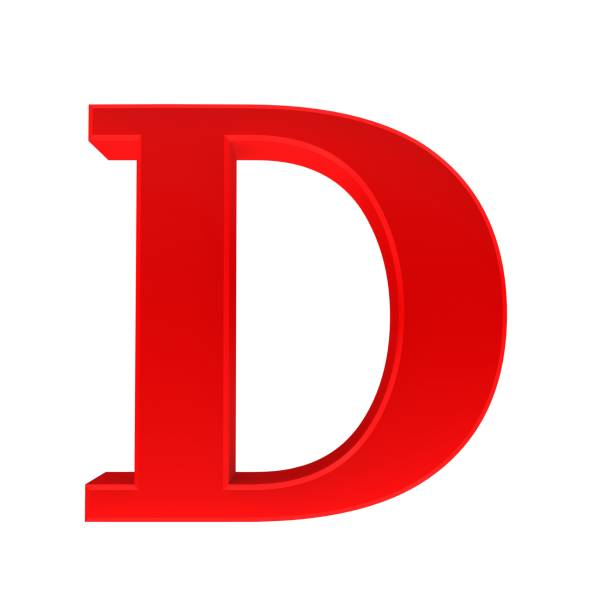 letter d red sign 3d rendering capital letter cut out white background stock photo