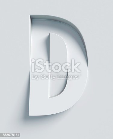 istock Letter D slanted 3d font engraved and extruded from surface 583978154
