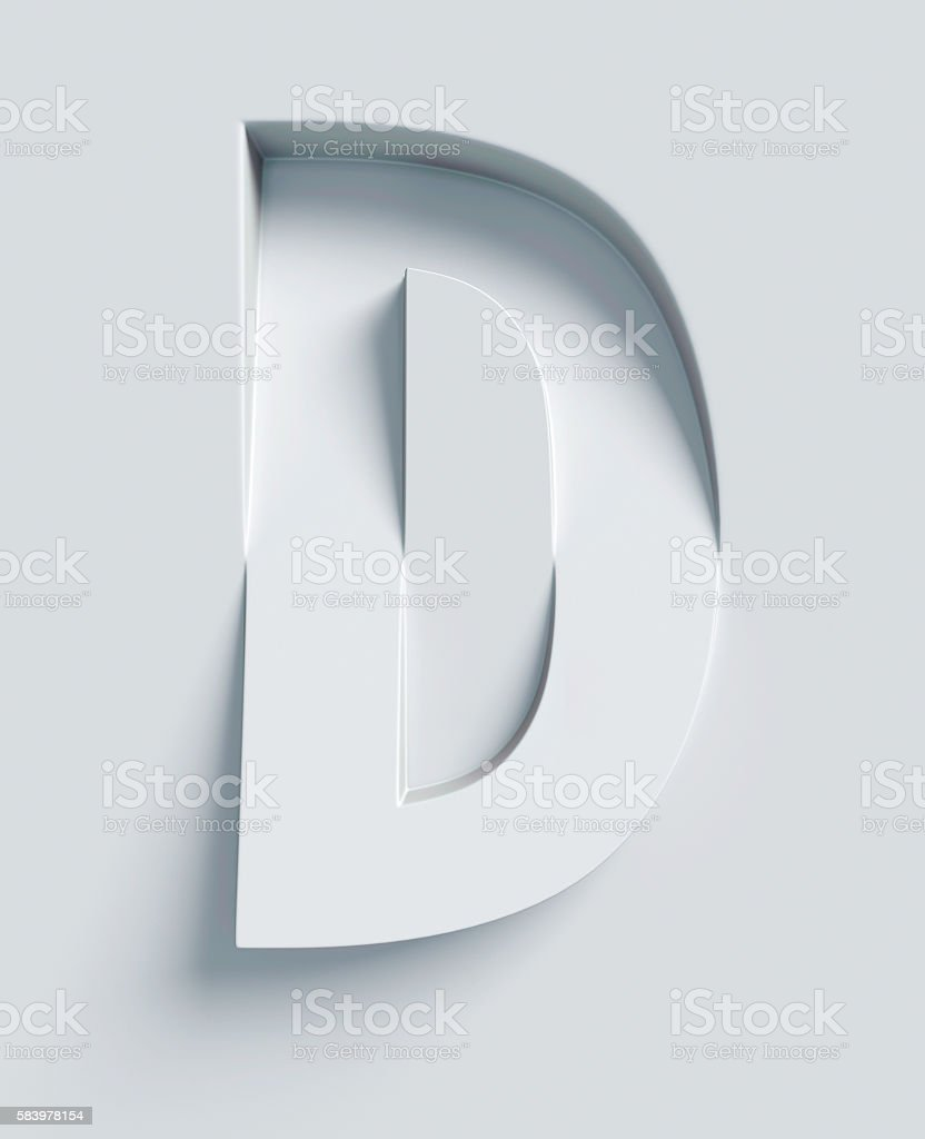 Letter D slanted 3d font engraved and extruded from surface stock photo