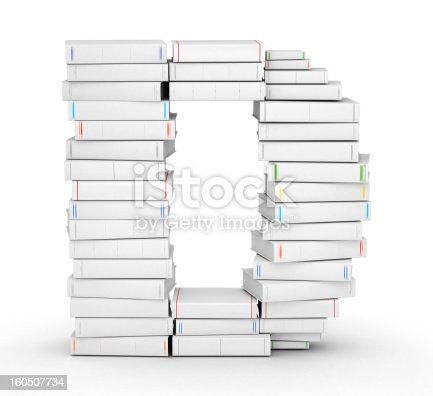 815359538 istock photo Letter D, stacked from blank books 160507734