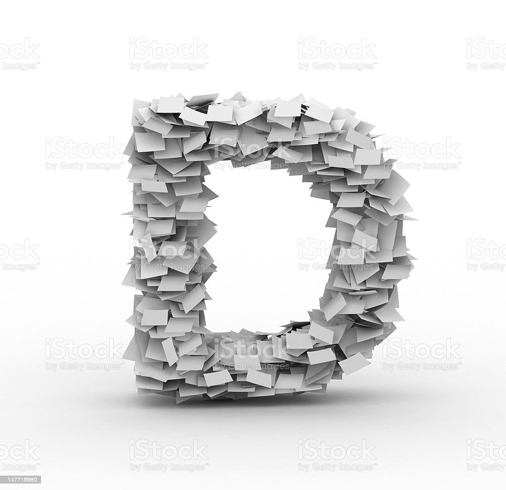 Letter D, stacked from paper sheets royalty-free stock photo