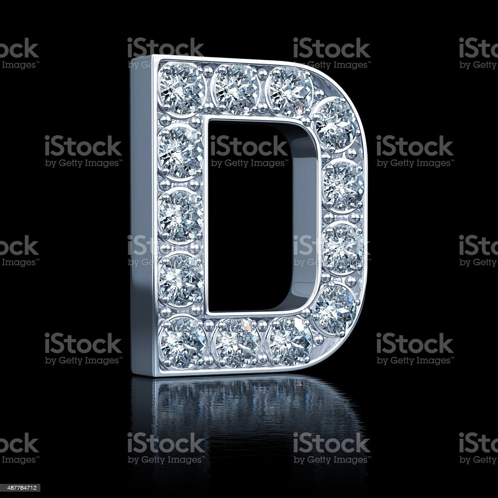 Letter D With Diamonds stock photo