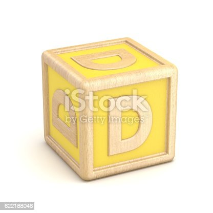 istock Letter D wooden alphabet blocks font rotated. 3D 622188046