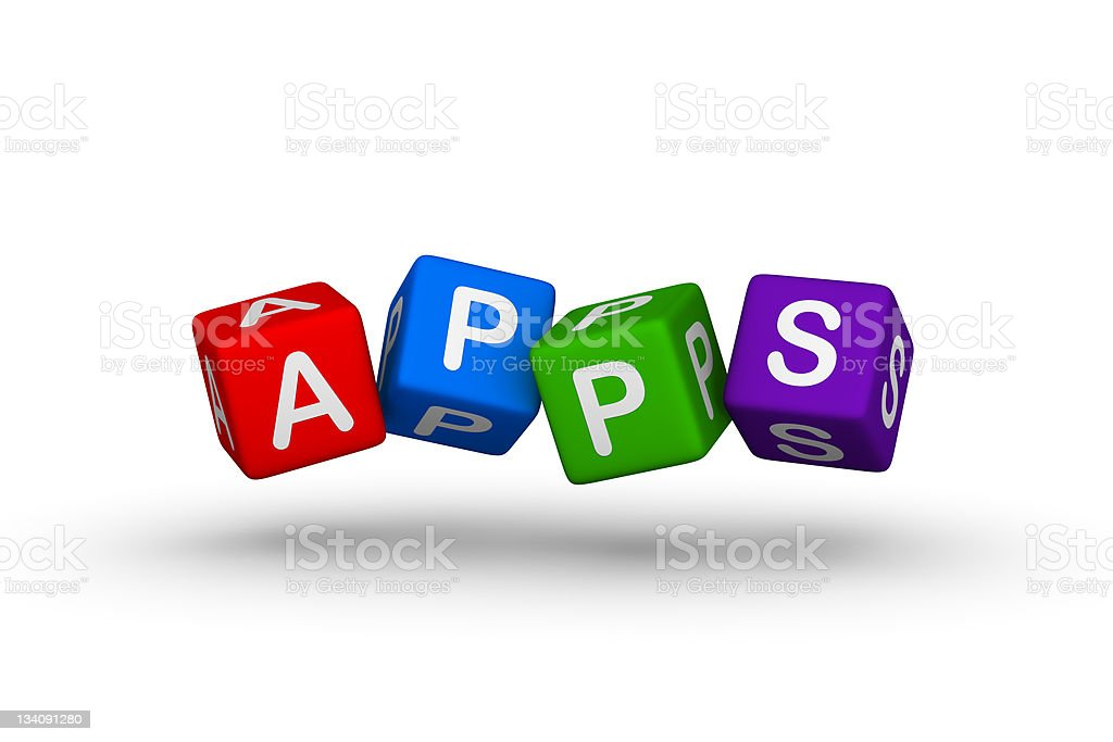 Letter Dice Spelling Out Apps In Color Stock Photo