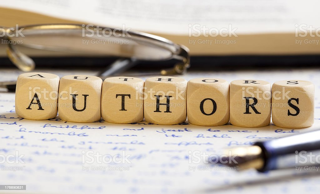 Letter Dices Concept: Authors royalty-free stock photo