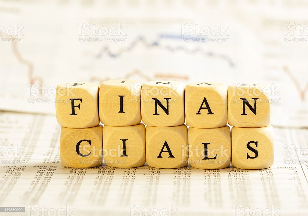 Letter Dices Concept: Financials royalty-free stock photo