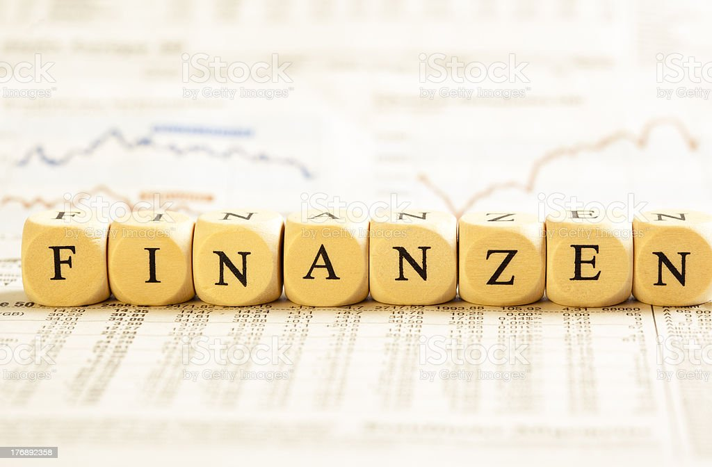 Letter Dices Concept: Finanzen (German) royalty-free stock photo