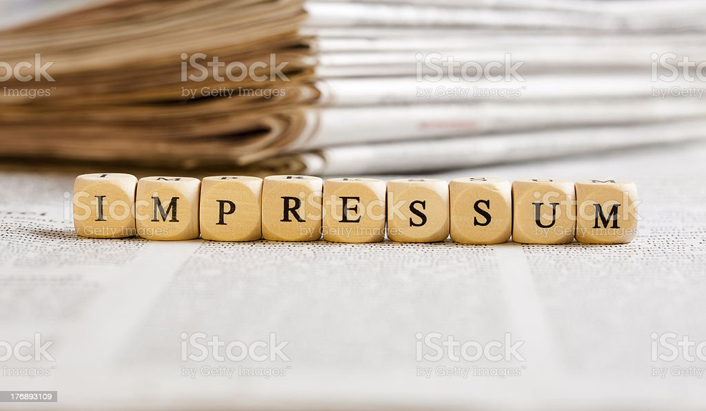 Letter Dices Concept: Impressum (German) royalty-free stock photo