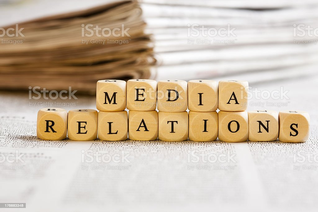 Letter Dices Concept: Media Relations stock photo