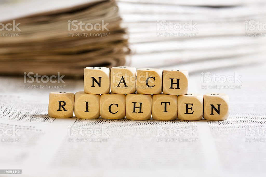 Letter Dices Concept: Nachrichten (German) royalty-free stock photo