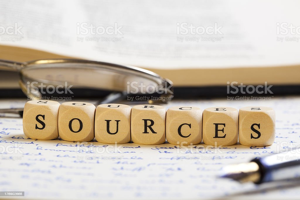 Letter Dices Concept: Sources royalty-free stock photo