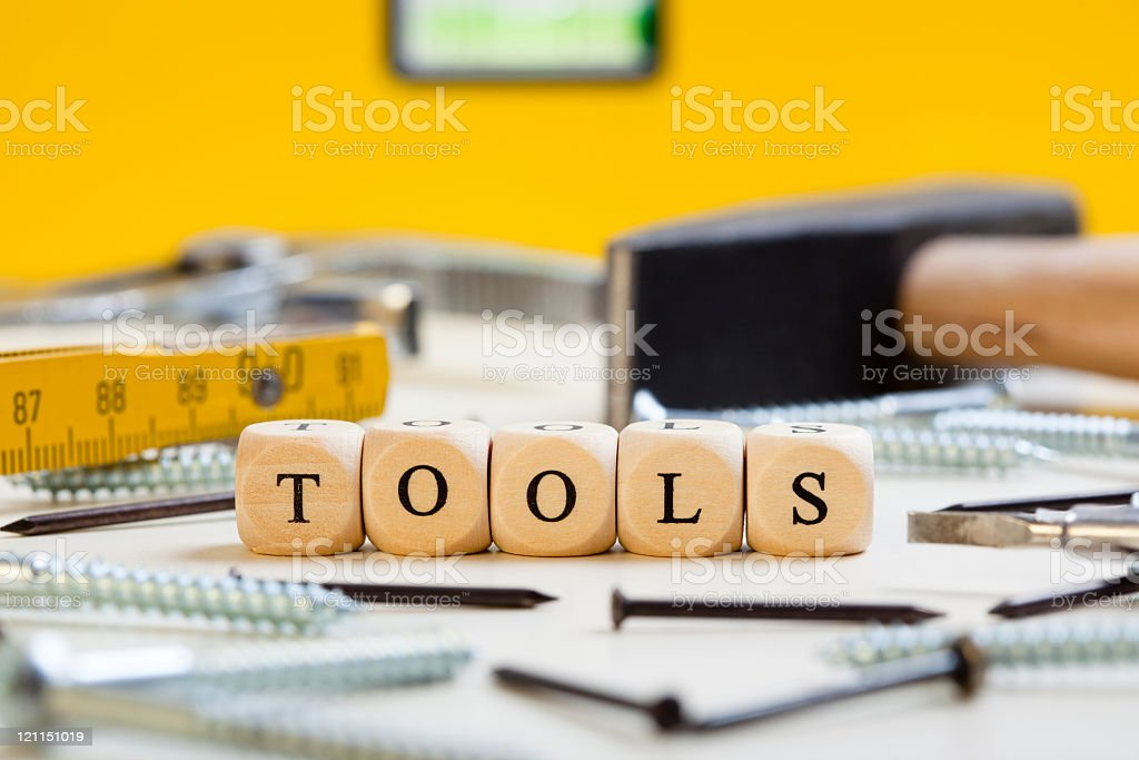 Letter Dices Concept: Tools royalty-free stock photo