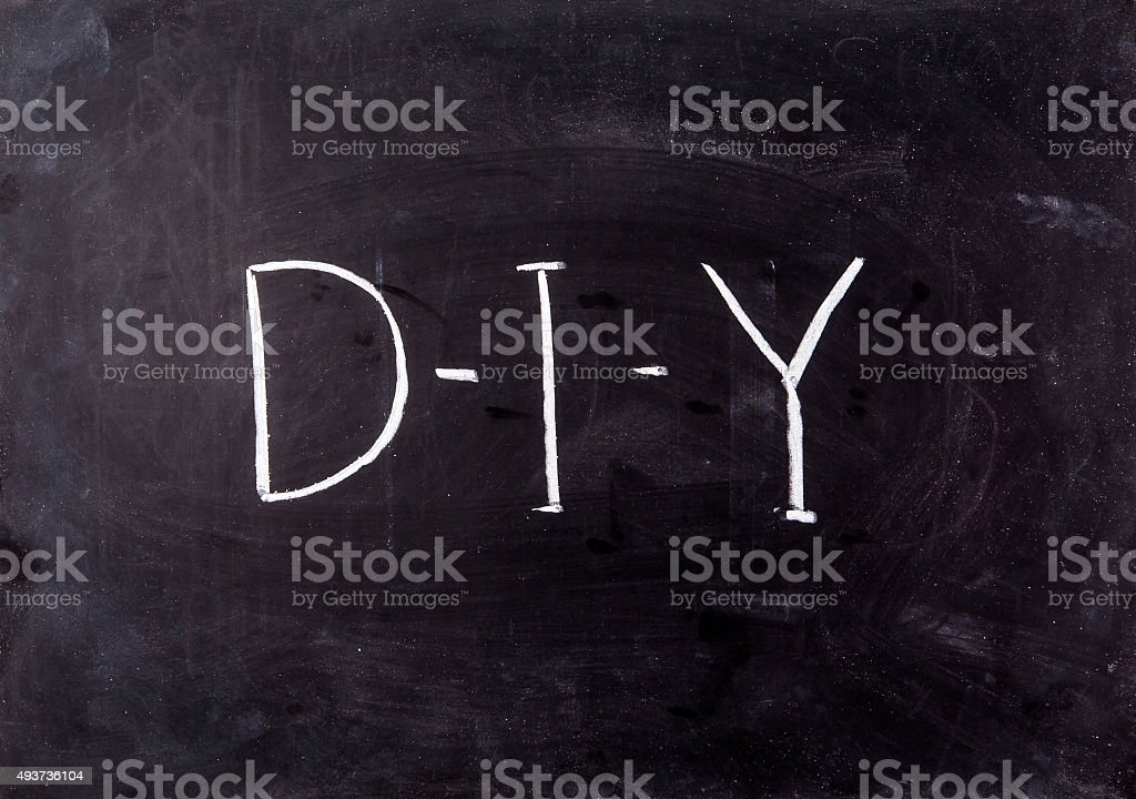 Letter Diy On Blackboard Stock Photo - Download Image Now ...
