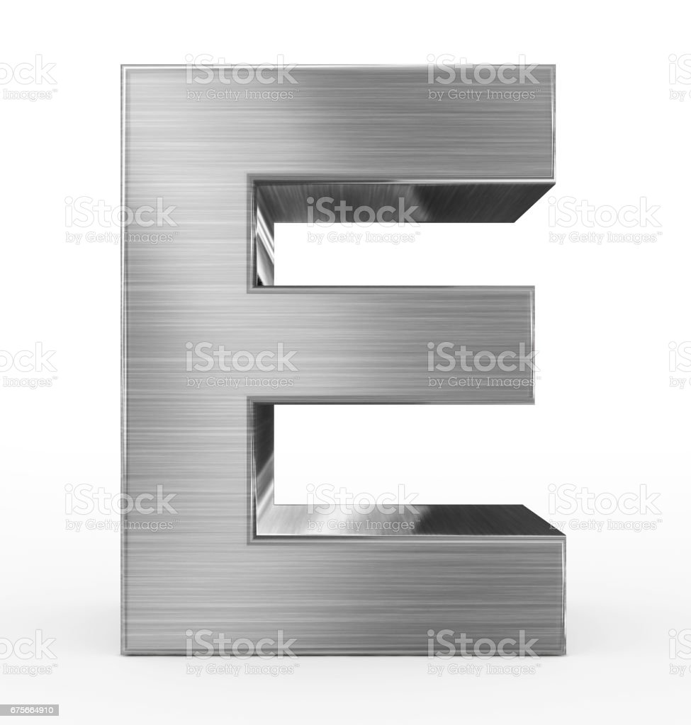 letter E 3d metal isolated on white stock photo