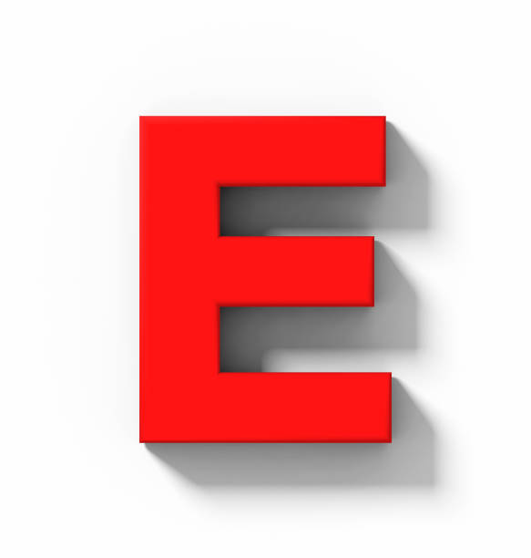 letter E 3D red isolated on white with shadow - orthogonal projection stock photo