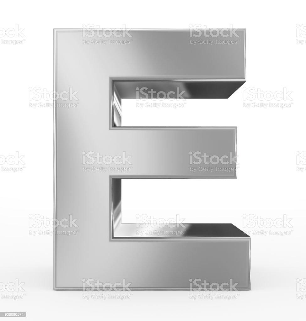 prata de 3d letra E isolada no branco - foto de acervo