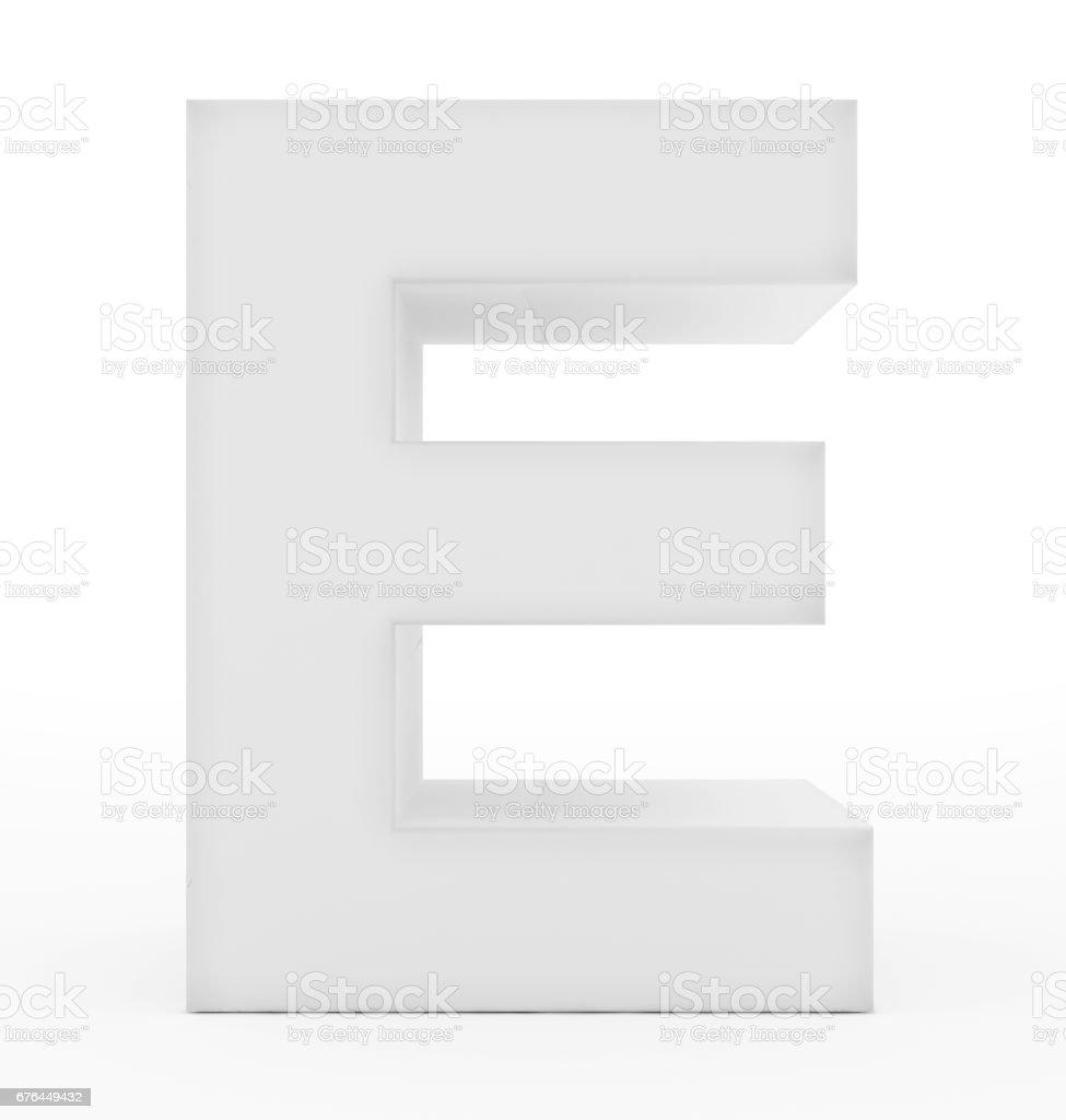 letter E 3d white isolated on white stock photo