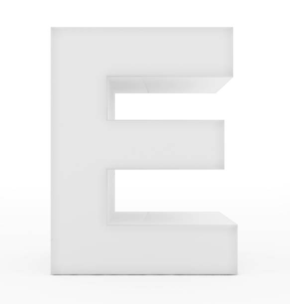 letter E 3d white isolated on white stock photo
