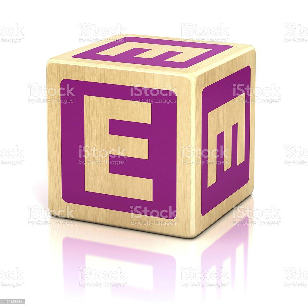 letter E alphabet cubes font stock photo