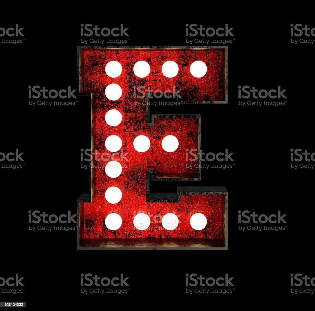 Letter E. Broadway Style Light Bulb Font. stock photo