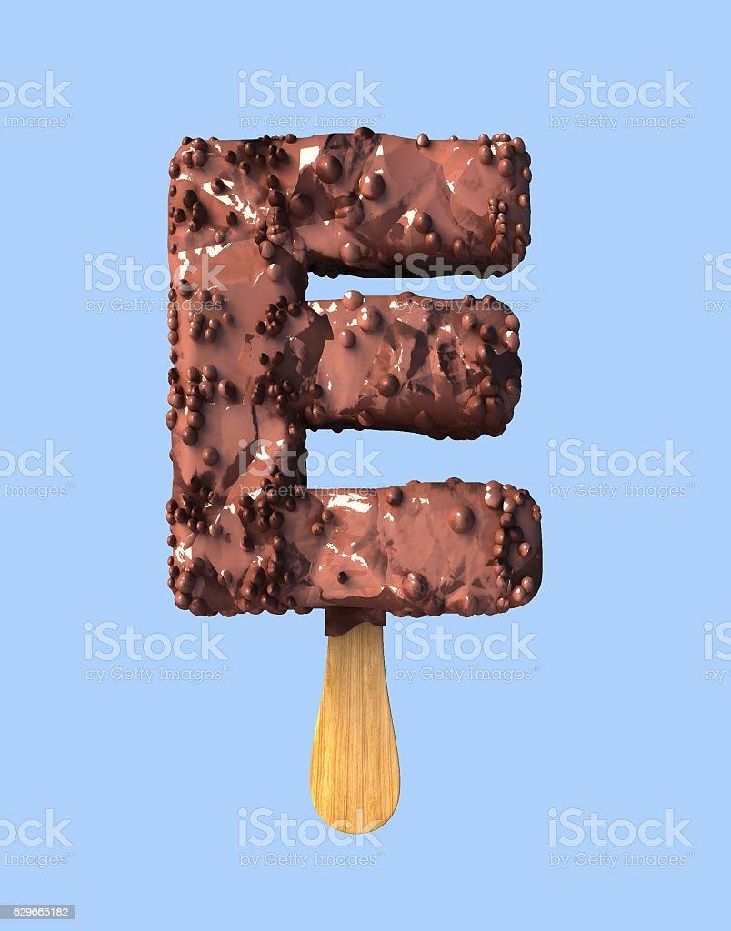 Letter E, Chocolate Ice Cream Font Concept. stock photo