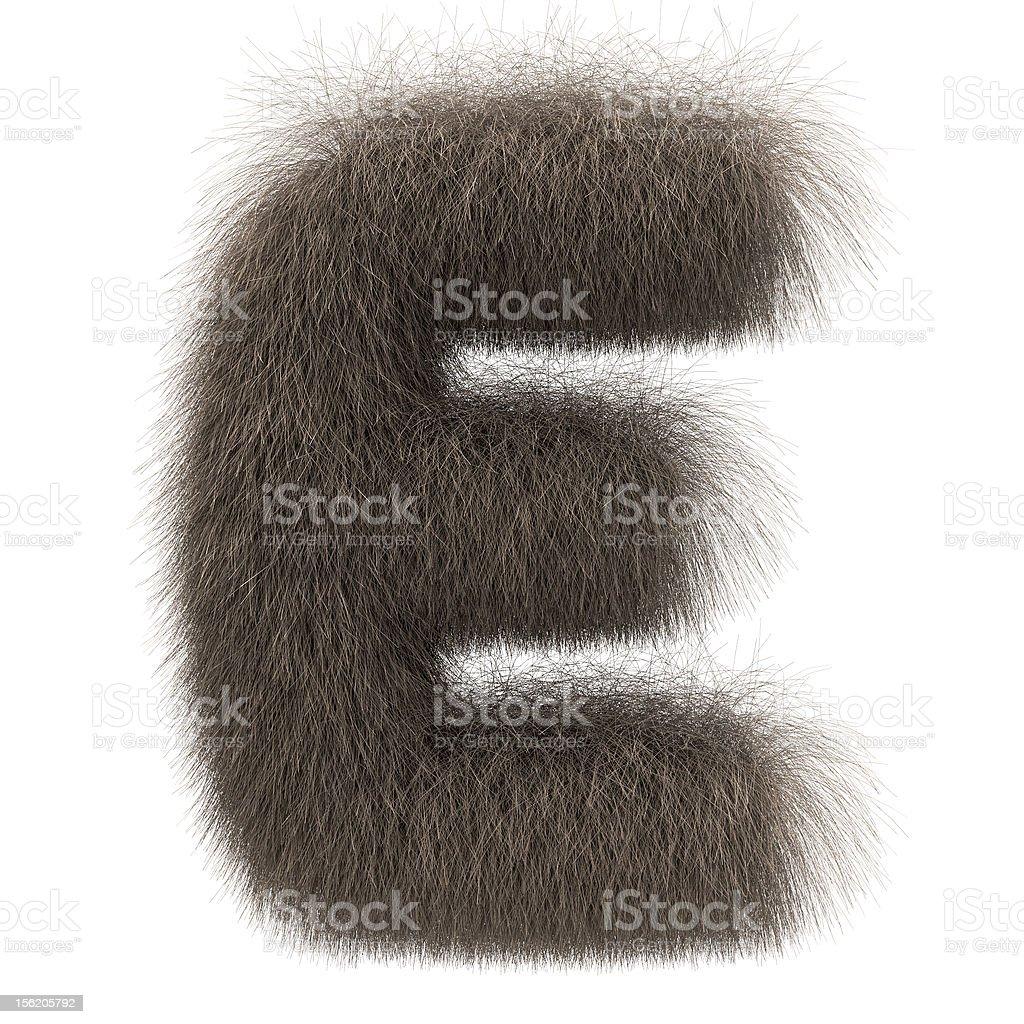 Letter E from fur alphabet stock photo