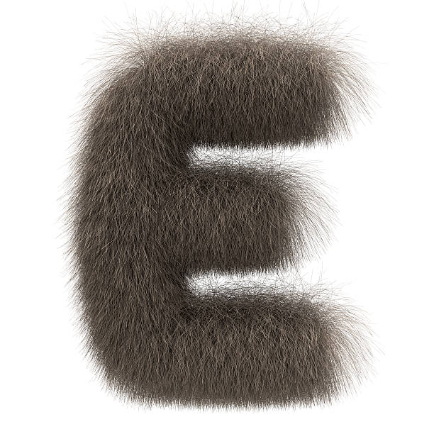 Letter E from fur alphabet stock photo