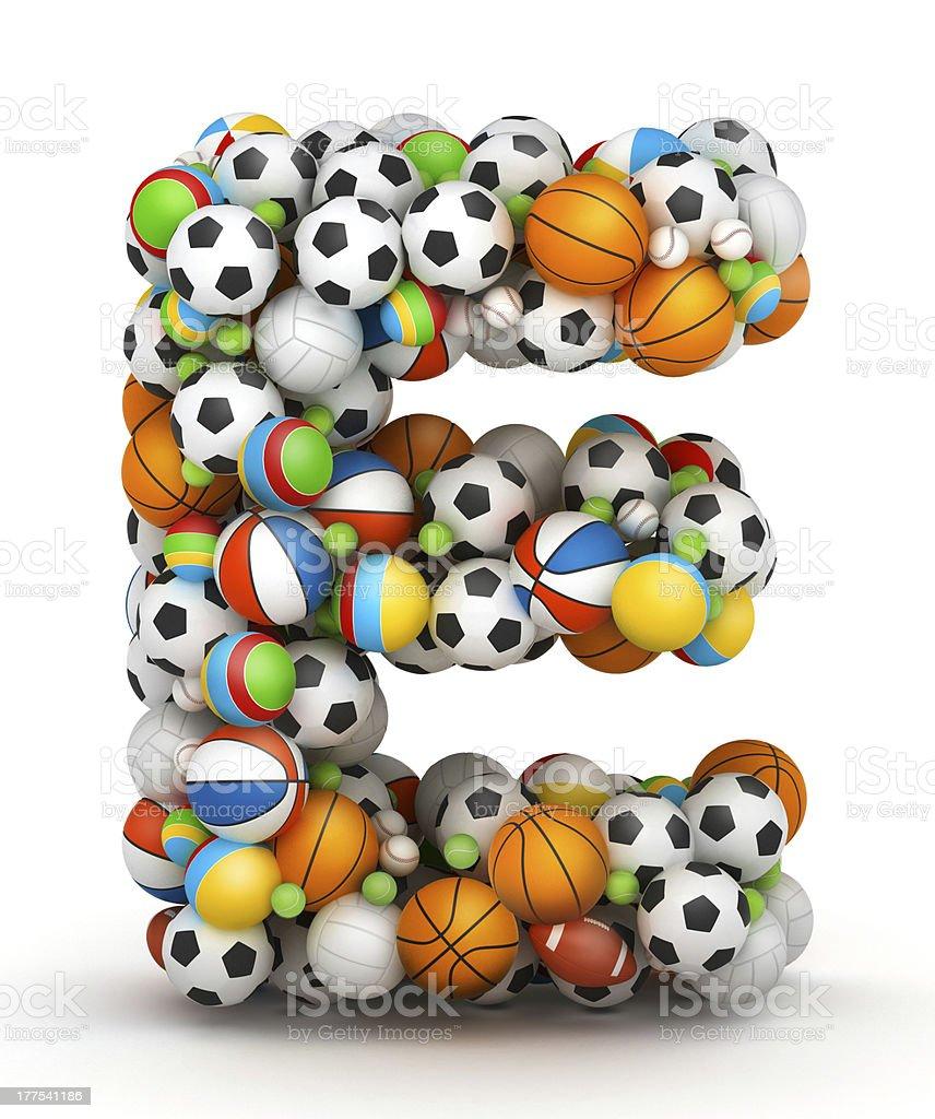 Letter E, gaming balls alphabet stock photo