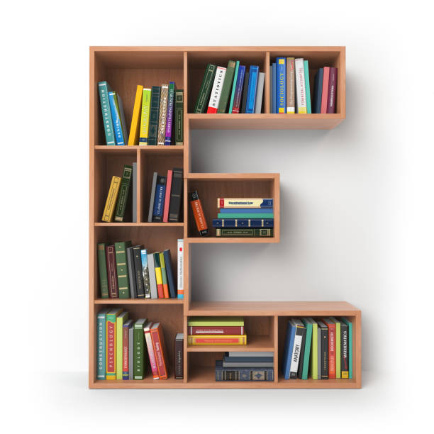 Letter E in the form of shelves with books isolated on white. stock photo