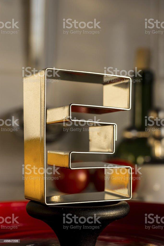 Letter E kitchen alphabet royalty-free stock photo