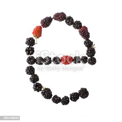683035640 istock photo Letter E made up of blackberries 183448635