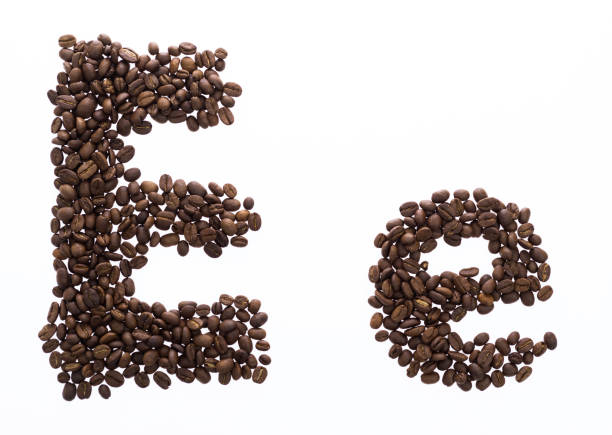 Letter E made with coffee beans Letter E made with coffee beans. letter e stock pictures, royalty-free photos & images