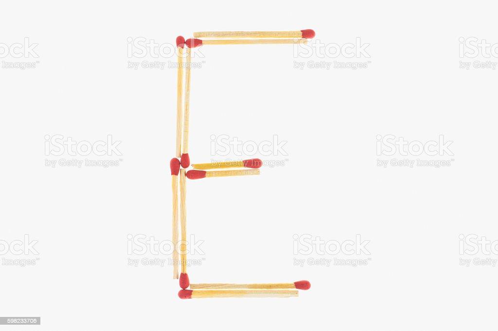 letter E match foto royalty-free
