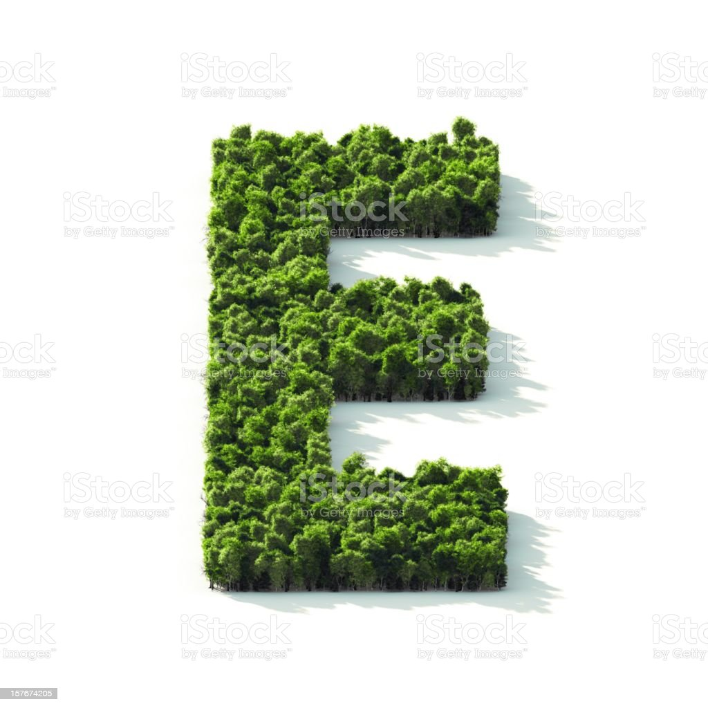 Letter E : Perspective View stock photo