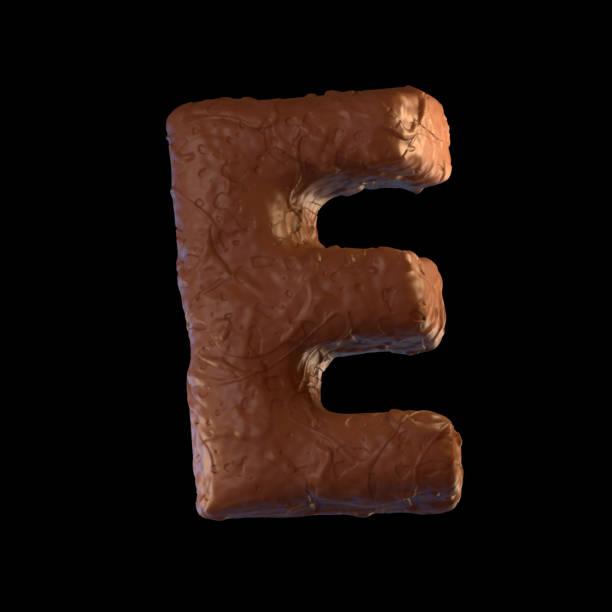 letter e - schokolade typografie stock-fotos und bilder