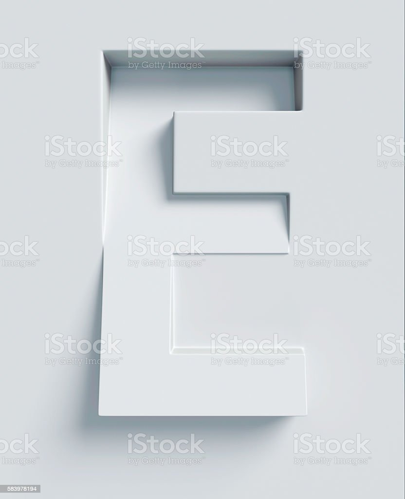 Letter E slanted 3d font engraved and extruded from surface stock photo