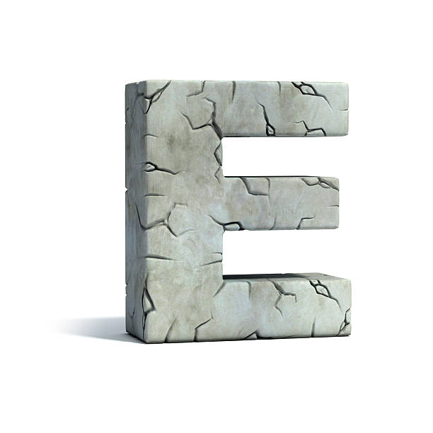 letter e stone 3d font - stone font stock photos and pictures