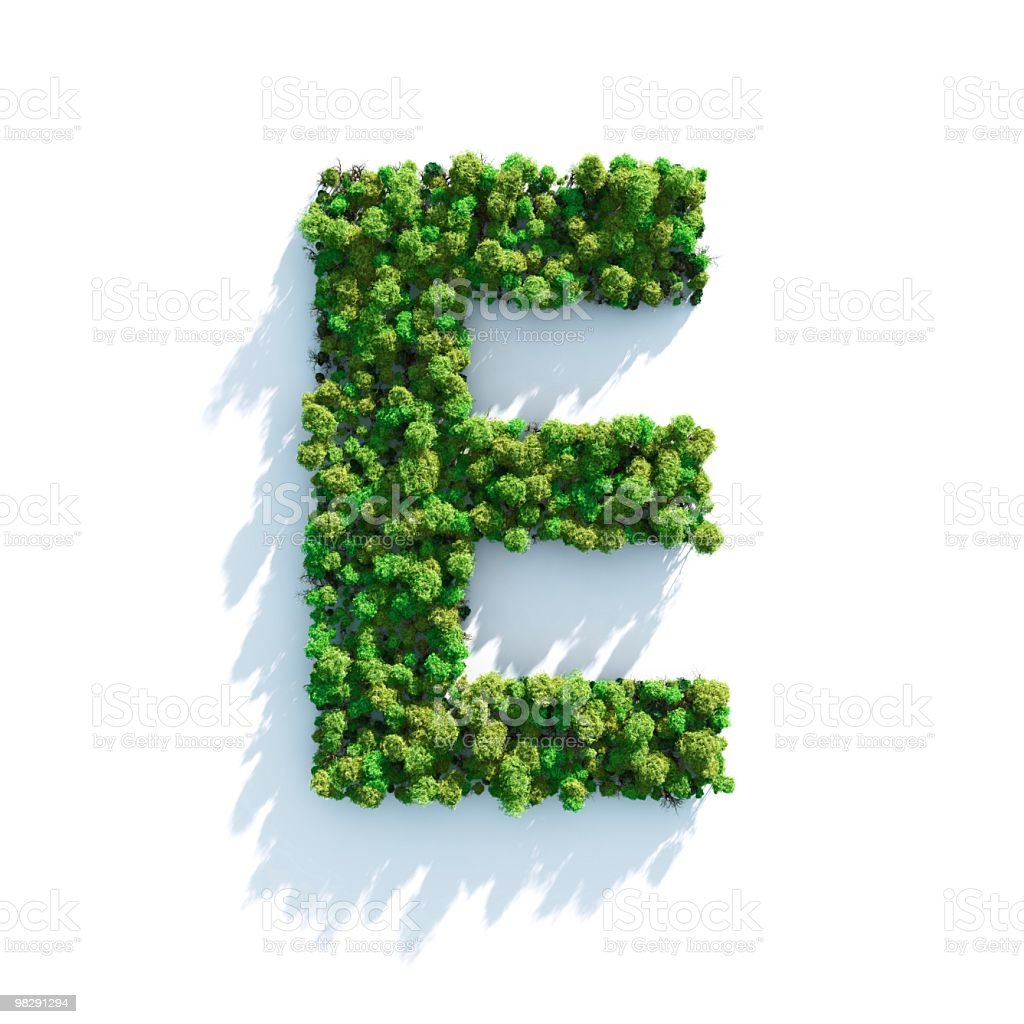 Letter E: Top View stock photo