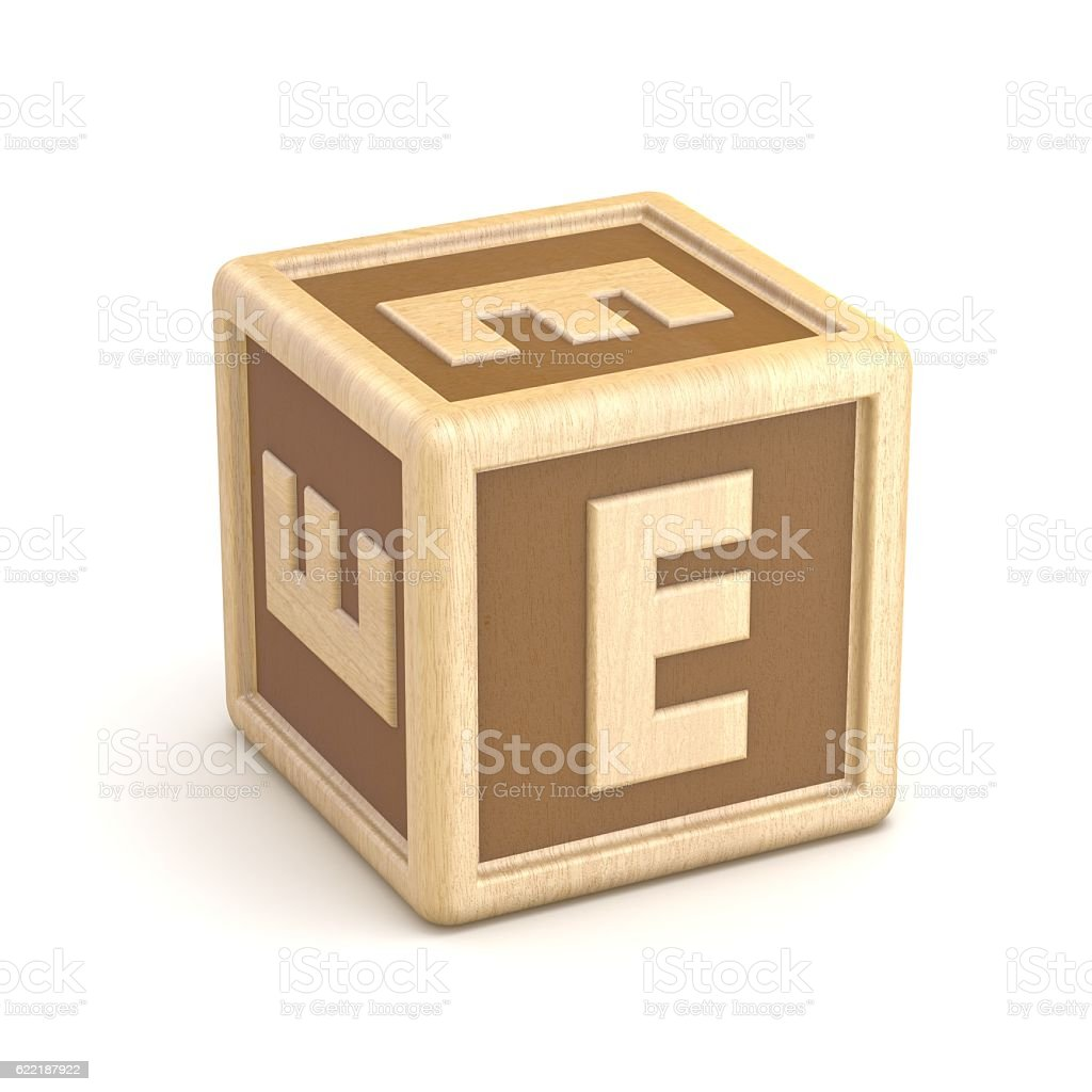 Letter E wooden alphabet blocks font rotated. 3D stock photo