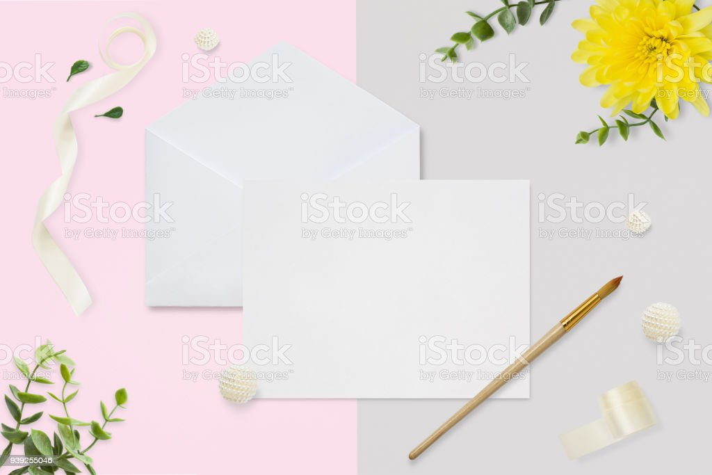 Letter Envelope And A Present On Pastel Pink Gray Background Wedding