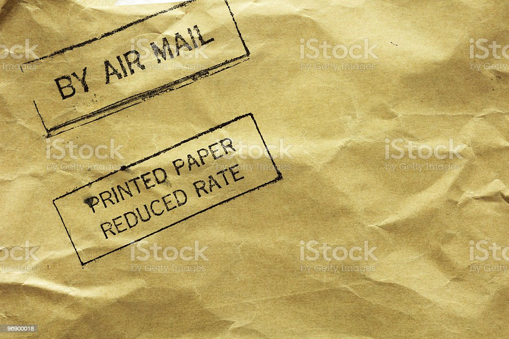 Letter envelope with air mail stamp royalty-free stock photo