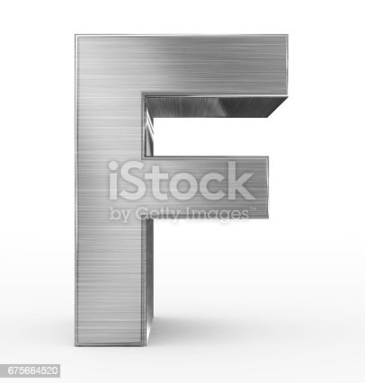 istock letter F 3d metal isolated on white 675664520
