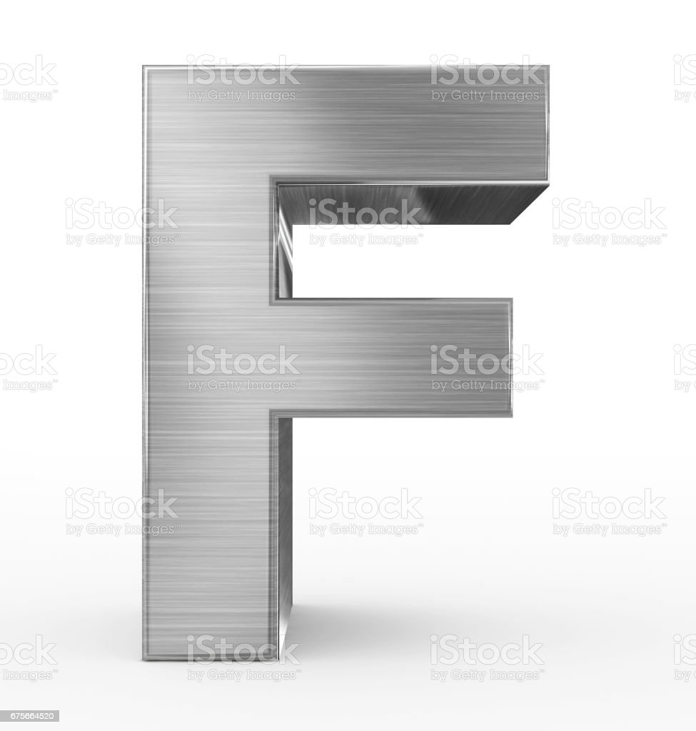 letter F 3d metal isolated on white stock photo