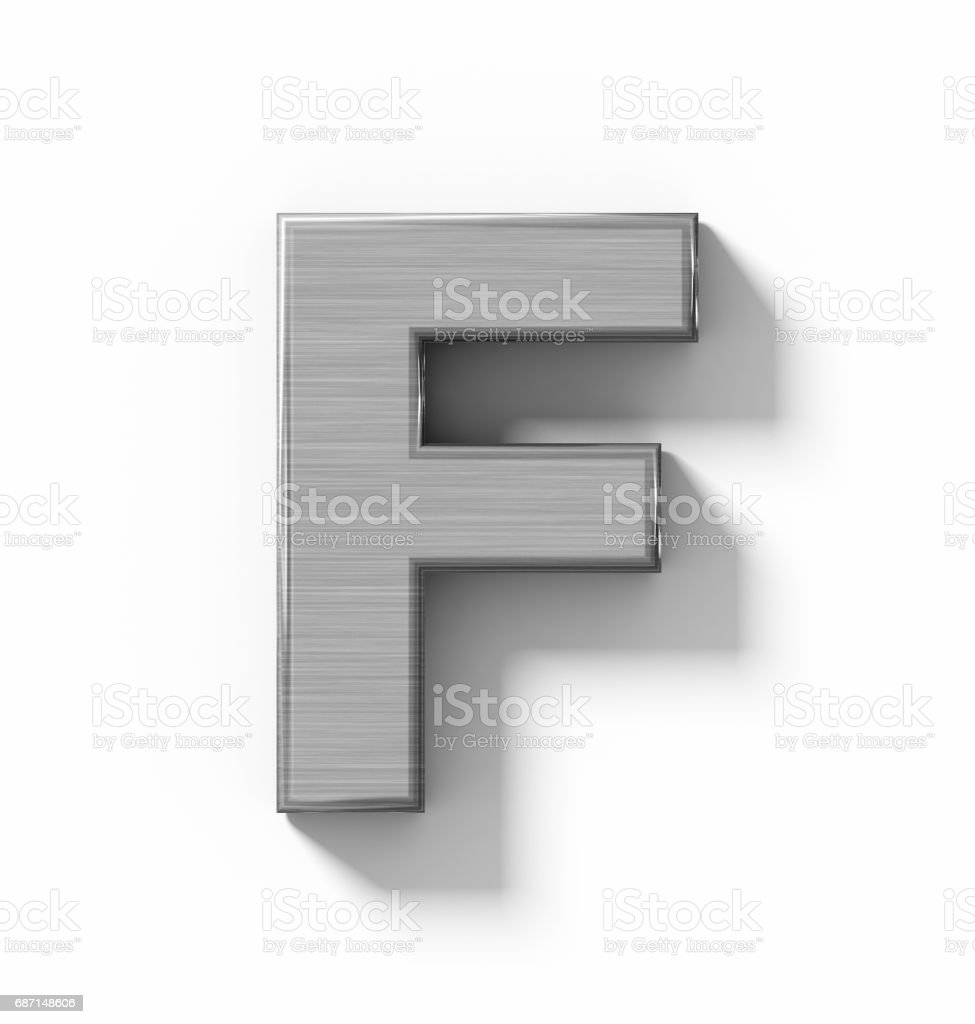 letter F 3D metal isolated on white with shadow - orthogonal projection stock photo