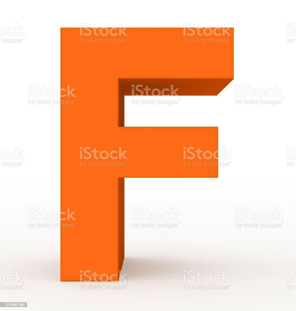 Buchstabe F 3d Orange isoliert auf weiss – Foto