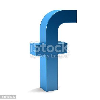 istock Letter f . 3D Render illustration in white background 839499740