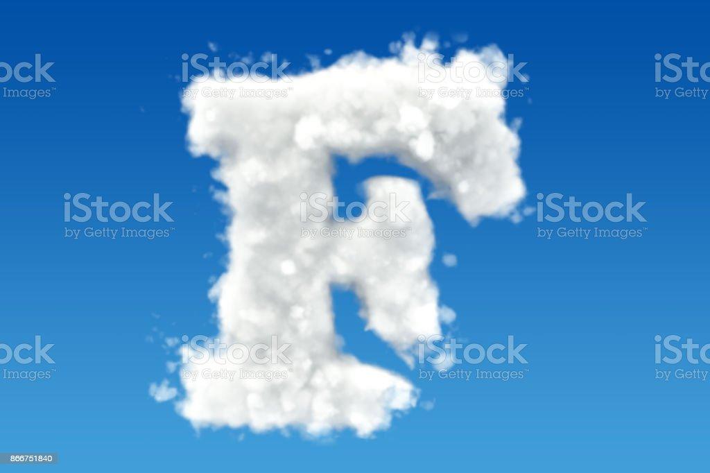 Buchstabe F, Alphabet aus Wolken am Himmel. 3D-Rendering – Foto