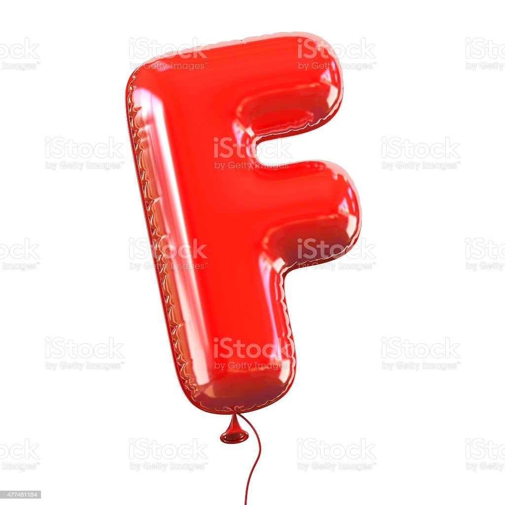 Letter F balloon font stock photo