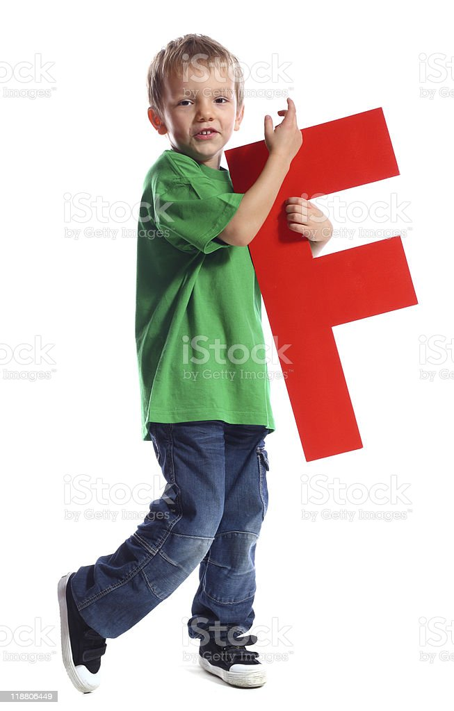 Letter 'F' boy royalty-free stock photo